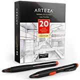 Arteza HB Mechanical Pencil Pack of 20 with 0.7 Millimeter Medium Point Lead and Replaceable Eraser, Latex-Free Grip
