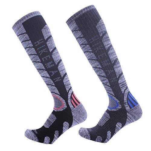 靴下 メンズ アウトドアソックス 防寒ソックス 登山 スキー ロングソックス 継足し 男性靴下 2足入り (ブラック1足xダークグレー1足)