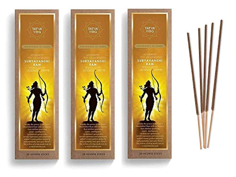 無知コンパクト調停するSuryavanshi Ram Long Lasting Incense Sticks for Daily Pooja Festive Home Scented Natural Agarbatti for Positive Energy Good Health & Wealth (Pack of 3   30 Sticks Per Pack)