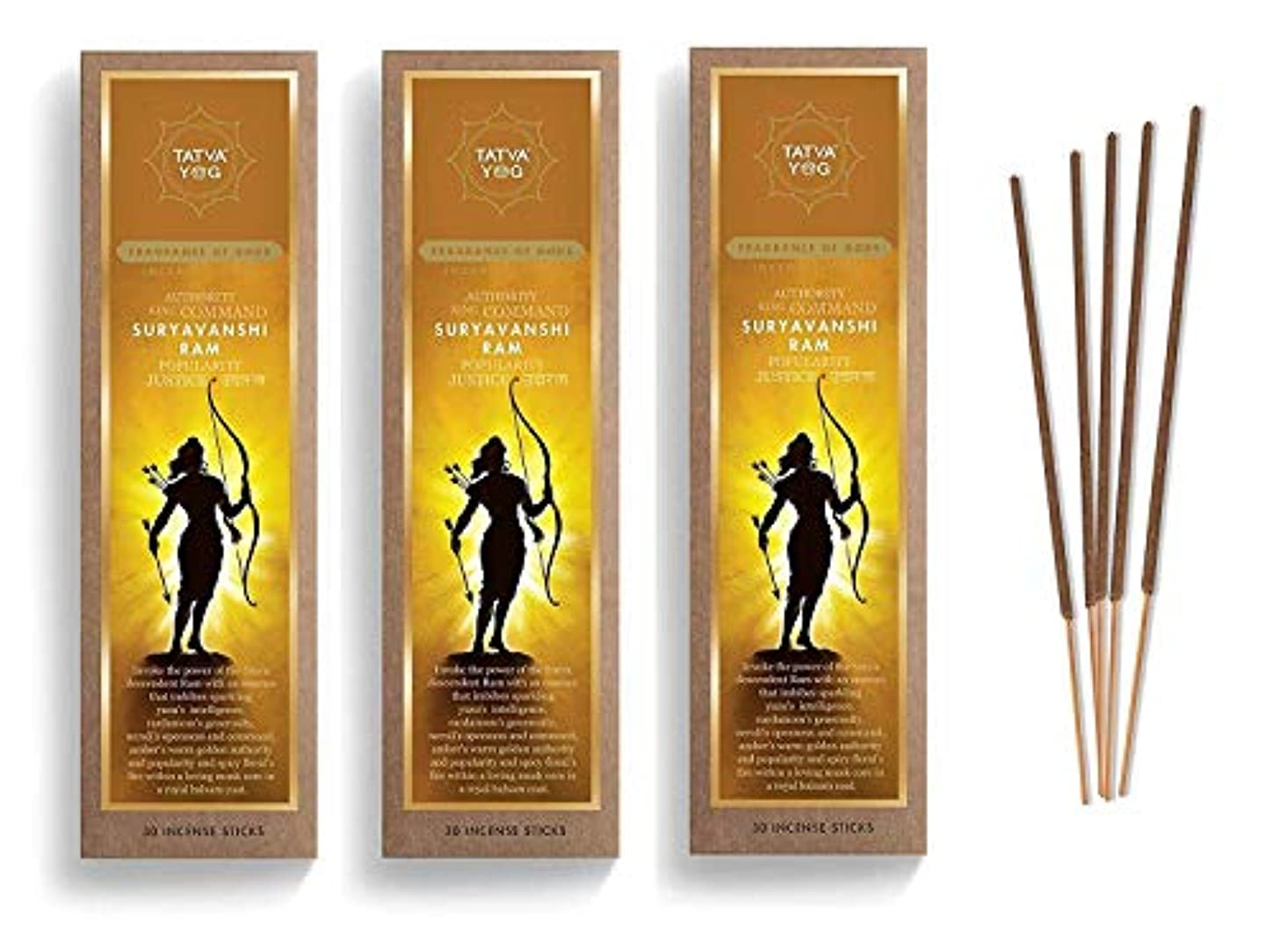 資料漁師山積みのSuryavanshi Ram Long Lasting Incense Sticks for Daily Pooja|Festive|Home|Scented Natural Agarbatti for Positive Energy|Good Health & Wealth (Pack of 3 | 30 Sticks Per Pack)