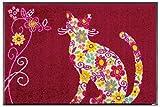 クリーンテックス wash+dry(ウォッシュ アンド ドライ) 玄関マット Flower Cat 50×75cm