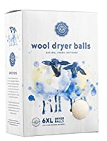 Woolzies, the Original Highest Quality Organic Wool Dryer Balls Set of 6 Xl ,Best Natural Fabric Softener, Gift Set (1 Pack, White) by Woolzies