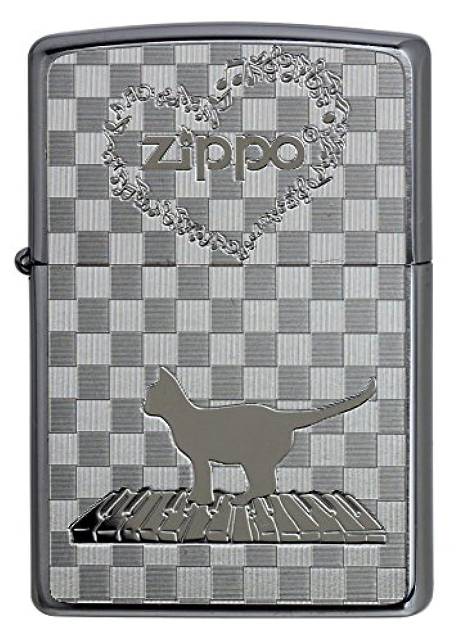 誰か屋内でベーカリー【ZIPPO】 ジッポーライター オイル ライター 猫 ネコと音符 ブラッシュクローム メタルプレート貼り