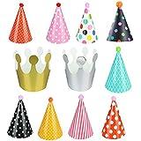 Tovadoo 誕生日 バースデー 子供用 とんがり帽子 帽子 三角帽子 誕生日帽子 パーティー小物 大人?子供兼用 11個セット ランダムパターン