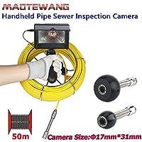 4.3インチ17ミリメートルハンドヘルド工業用パイプ下水道検査ビデオカメラip68防水排水管下水道検査カメラシステム1000 tvlカメラ付き8ピースledライト,50M