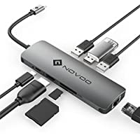 USB ハブ typec usb3.0 アダプターポート NOVOO HDMI+PD+LAN(1000M)+USB3.0*3+SD+TF MacBook2016 MacBook Pro/ChromeBook対応 (グレー)