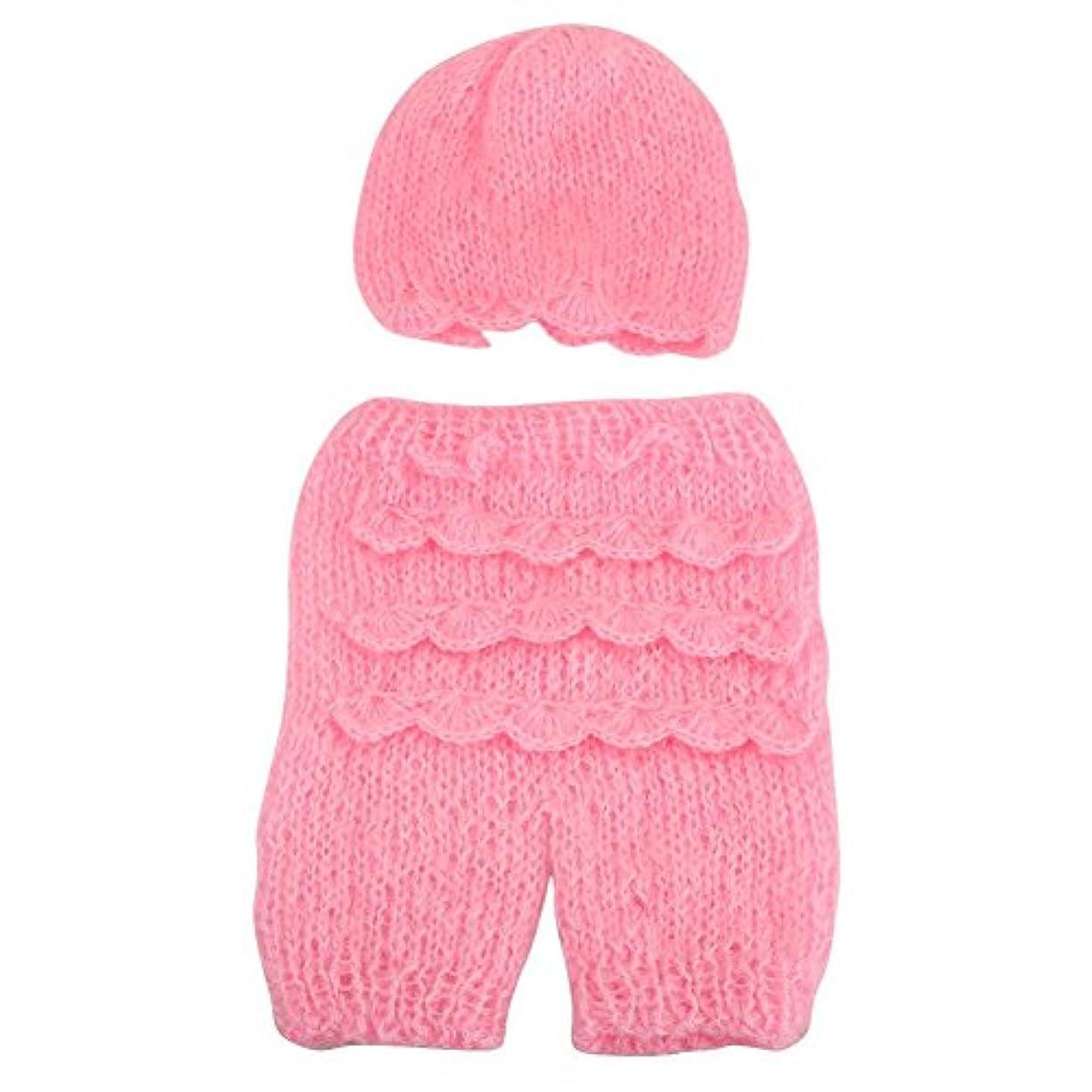 ギャラリー噴出する中央2個のカラフルなモヘア新生児の写真プロップ赤ちゃんの幼児寝巻のソフトラップコスチュームハット+植物のベビーパンツのニット写真のアクセサリー(ピンク)