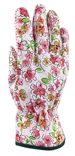 *Pack Offer* GREENLINE - Printed Floral Cotton Woven Garden Gloves Gardening Gloves Working Gloves (3 Pairs-RED, Blue and Yellow-Each)