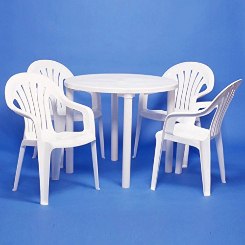 雨に強いプラスチック製 ガーデンテーブルセット ガーデン5点セット テーブル(丸型)×1台 チェアー×4脚