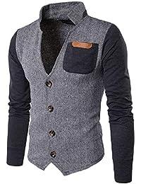 maweisong メンズスタンドアップカラーステッチカジュアルシングルコートスウェットシャツ