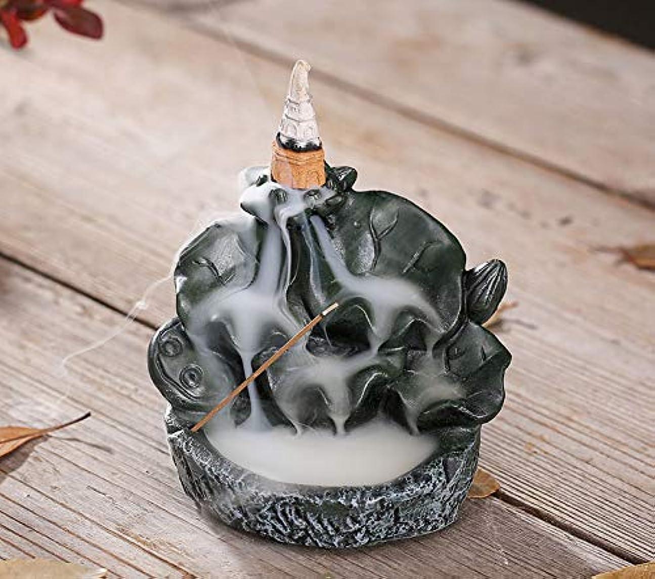 PHILOGOD香炉ロータススタイリング陶器逆流香炉線香香立て仏壇用香置物/香皿
