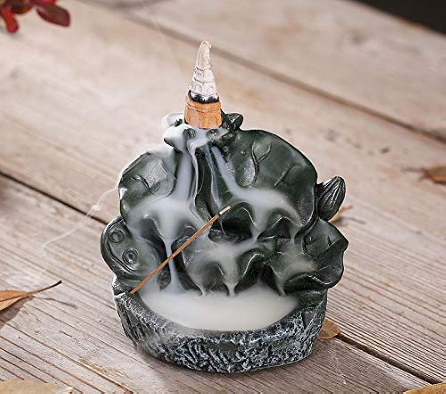 補充延ばすトピックPHILOGOD香炉ロータススタイリング陶器逆流香炉線香香立て仏壇用香置物/香皿