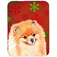 Carolines Treasures LH9350LCB Pomeranian Red And Green Snowflakes Holiday Christmas Glass Cutting Board - Large