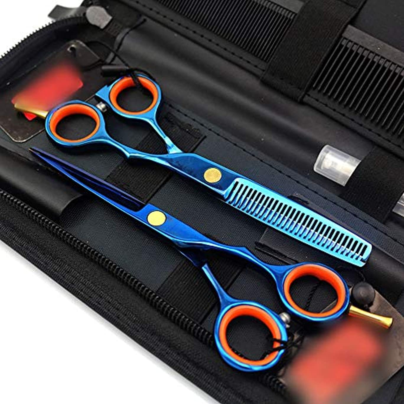 鍔決定する走る理髪用はさみ 5.5インチプロフェッショナル両面ヘアカットセット、ブルー理髪はさみセットフラットはさみ+歯はさみヘアカットはさみステンレス理髪はさみ (色 : 青)