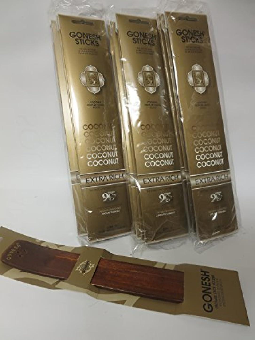 水分コーラス繁栄Gonesh Incense Sticks Coconut Lot of 12