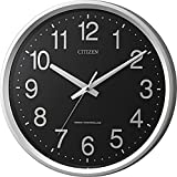 CITIZEN(リズム時計) 【見易い電波掛時計】 サークルポート プラスチック枠/黒文字盤・シルバーメタリック色 4MYA24-002