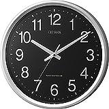 シチズン 電波 掛け時計 アナログ サークルポート オフィス タイプ 黒 銀色 CITIZEN 4MYA24-002