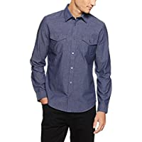 Calvin Klein Men's Chambray Two-Pocket Point Collar Long Sleeve Shirt