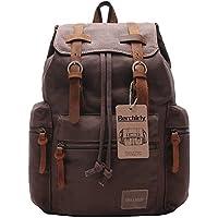 Berchirly Vintage Men Casual Canvas Leather Backpack Rucksack Bookbag Satchel Hiking Bag