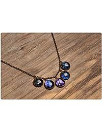 銀河ネックレス、真鍮ネックレス、惑星のネックレス、宇宙のネックレス、銀河のペンダント、ガラスのネックレス、ガラスドームのネックレス