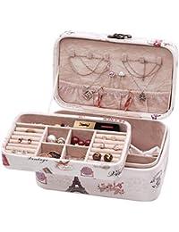BESONTジュエリーボックス 二層アクセサリーケース 大容量 小物入れ宝石箱 取っ手付き 王女ジュエリーボックス