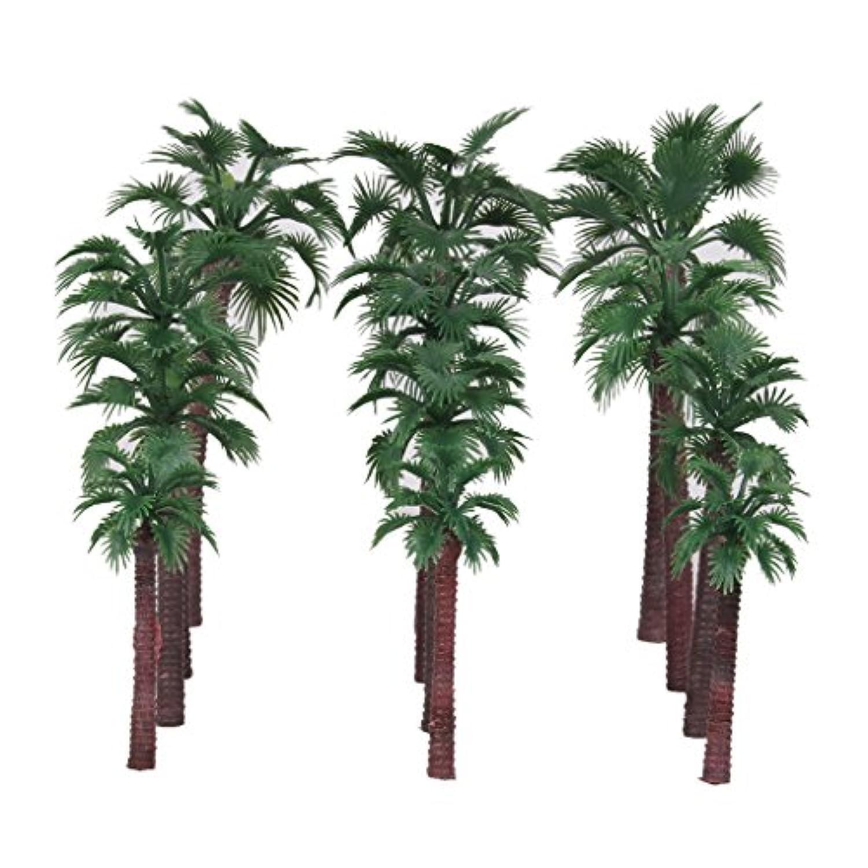 【ノーブランド品】鉄道模型 箱庭用 プラスチック製 ストラクチャー 鉄道 風景 椰子の木 15cm 12cm 10cm 8cm  ミックス 12本