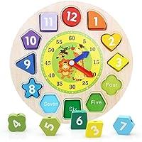Yingealy 知的発達 教育的 木製時計 おもちゃ 早期学習 数字の形 カラー 動物認知玩具 子供用