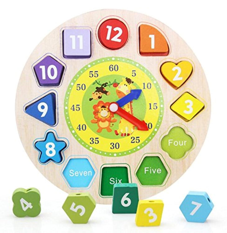 HuaQingPiJu-JP 高品質の教育木製時計玩具アーリーラーニングタイムナンバーシェイプ子供のための色の動物の認知玩具