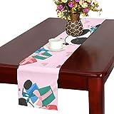 GGSXD テーブルランナー 黑白パンダ クロス 食卓カバー 麻綿製 欧米 おしゃれ 16 Inch X 72 Inch (40cm X 182cm) キッチン ダイニング ホーム デコレーション モダン リビング 洗える