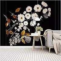 Lcymt 花の壁紙現代の花黒背景壁の壁画用リビングルーム寝室の壁家の装飾壁紙3D-400X280Cm