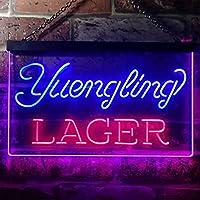 Yuengling Larger Beer LED看板 ネオンサイン バーライト 電飾 ビールバー 広告用標識 レッド+ブルー W40cm x H30cm