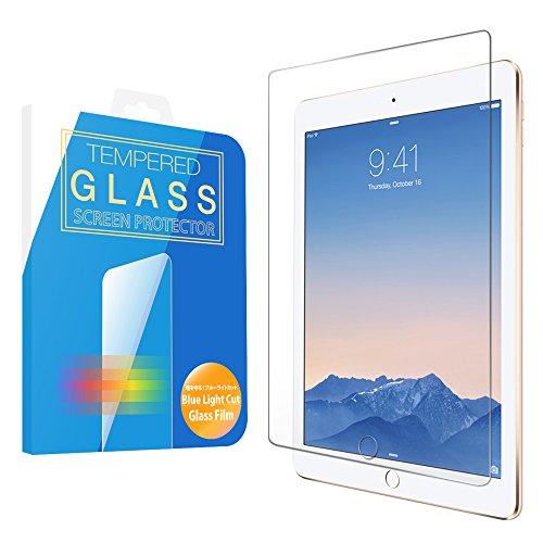 MS factory iPad 2017 Air Air2 ガラス フィルム ブルーライト カット 90% 強化ガラス iPad5 新型 第五世代 9.7 ブルーライトカット ガラスフィルム アイパッド 保護フィルム 90日 保証 FD-IPDA2-BLUE-AB
