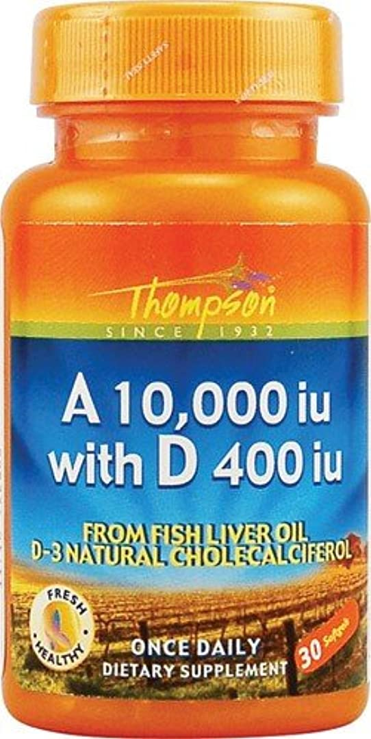 ディンカルビルたっぷり移動海外直送品 Thompson Nutritional Products Vitamin A & D Fish Liver Oil, FISH LIVER OIL, 30 SGEL