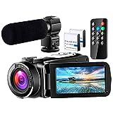 ビデオカメラ 充電式マイク 1080P 60FPS ウェブカメラ 生放送機能可 ビデオ通話可 二つバッテリーあり