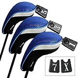 Andux ゴルフ ウッドドライバー ヘッドカバー 交換可能な番号タグ付き 3個セット (ブラック/ブルー)