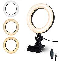 LEDリングライト 6.3インチ 自撮りライト ビデオカメラ撮影 クリップ式 U型クリップ 3色モード 10段階調光 W…