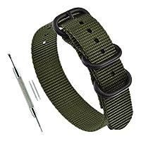 19ミリアーミーグリーン軍ZULUストラップ3 - リングの厚さのナイロン製の時計ストラップの交換