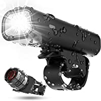 Bike Light Set USB Rechargeable Bicycle Lights, 400 Lumen Super Bright Headlight Front Lights and Red Back Rear LED, 3...