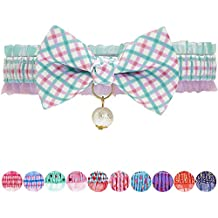 Blueberry Pet Green Plaid Breakaway Bowtie Cat Collar Lace Choker Necklace with Handmade Bow Tie and Pearl Charm, Safety Elastic Stretch Collar for Cats, Neck 21.5cm-30cm