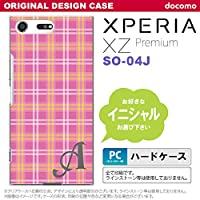 SO04J スマホケース Xperia XZ Premium ケース エクスペリア XZ プレミアム イニシャル チェックB ピンク nk-so04j-434ini W