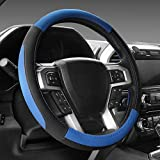SEG Direct ブラック&ブルー マイクロファイバー革ハンドルカバー 外径約39.5cmから40.5cmまでのレンジローバー用