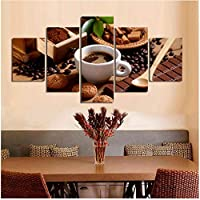 Xbwy ウォールアートHdプリントホームデコレーション5ピースコーヒーキャンバスドリンク絵画甘いモジュラー用レストランの写真アートワークポスター-20X35Cmx2,20X45Cmx2,20X55Cmx1