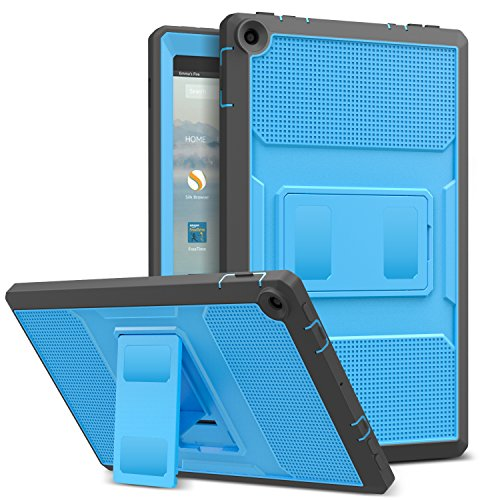NEW-Fire HD 10 ケース - ATiC Fire HD 10 タブレット (Newモデル) 2017用 全面保護型 耐衝撃 スタンドケース BLUE+Dark GRAY 改良版