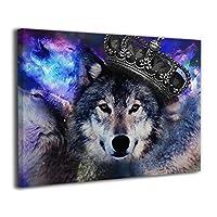 ウルフ 狼 オオカミ 壁アート ソファの背景絵画 キャンバス絵画 壁掛け お祝いやプレゼントに 額縁付き 絵画 軽くて取り付けやすい (50x40cm)
