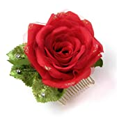 髪飾り 可憐な薔薇 バラ ローズ 赤01