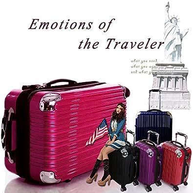 スーツケース大型・超軽量・Lサイズ・TSAロック搭載・キャリーバッグ 6212L (ネイビー&シルバー)