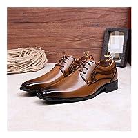 WENQU 男性ビジネスシューズレースアップマイクロファイバーレザーポインテッドトゥステッチラバーソールバーニッシュスタイルのためにオックスフォード (Color : 褐色, サイズ : 27.5 CM)