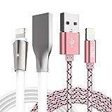 iphone 充電ケーブル 高耐久 1.8M LEDライト付き iPhone / iPad / iPod対応 ライトニングケーブル 2点セット ALYEE (ホワイト+ピンク)