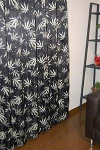 アジアンヘンプ3級遮光ドレープカーテン100×110cm【2枚入】ブラック