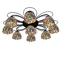 ティファニーヨーロッパクリエイティブステンドグラス天井ランプ牧歌的な鳥リモートコントロール照明用リビングルームダイニングルーム寝室22/28/34インチ (Size : 3 heads ceiling lights)